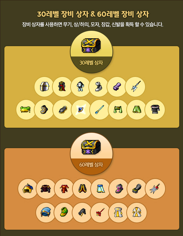 Level 30 and 60 Equipment Boxes